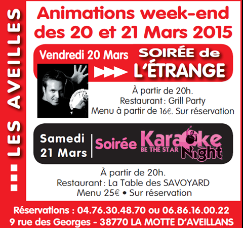 Week end 20 et 21 mars 2015
